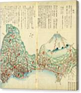 Japanese Wood Block Map Showing Mt Fuji 1830s Canvas Print