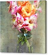 Jar Of Gladiolas Canvas Print