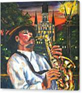 Jazz By Street Lamp Canvas Print