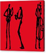 Jazz Trio In Red 2 Canvas Print