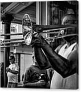 Jazzy Trombone Music-bw Canvas Print