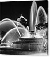 J.c. Nichols Memorial Fountain - Night Bw Canvas Print