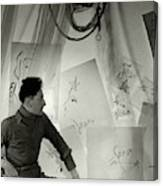 Jean Cocteau With A Cane And Drawings Canvas Print