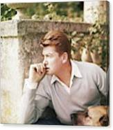 Jean Marais With A Dog Canvas Print