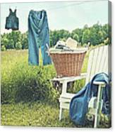 Jeans Hanging On Clothesline On A Summer Afternoon Canvas Print