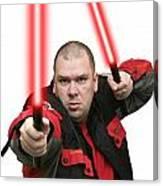 Jedi Master Randall M Rueff And Lightsaber Thirty Four Canvas Print