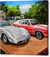 Jeffs Cars Corvette And 442 Olds Canvas Print
