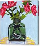Jeff's Vase And Rodger's Roses Canvas Print