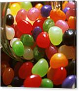 Jelly Beans Spilling Out Of Glass Jar Canvas Print