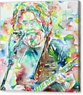 Jerry Garcia Playing The Guitar Watercolor Portrait.2 Canvas Print