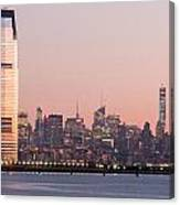 Jersey City And New York City  With Manhattan Skyline Over Hudso Canvas Print