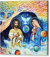 Jesus And Mary Cloud Colored Christ Come Canvas Print
