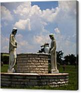Jesus And The Woman At The Well Cemetery Statues Canvas Print
