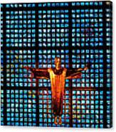 Jesus Sculpture And Blue Glass Background Canvas Print
