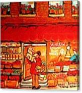 Jewish Culture In Montreal Paintings Of Warshaw's Fruit Store On St.lawrence Street Scene Art  Canvas Print