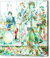 Jim Morrison And The Doors Live On Stage- Watercolor Portrait Canvas Print