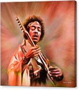 Jimi Hendrix Electrifying Guitar Play Canvas Print