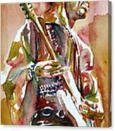 Jimi Hendrix Playing The Guitar Portrait.3 Canvas Print