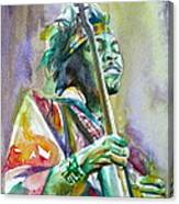 Jimi Hendrix Playing The Guitar.5 -watercolor Portrait Canvas Print