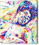 Jimi Hendrix Sleeping - Watercolor Portrait Canvas Print