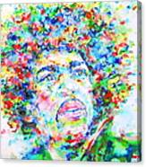 Jimi Hendrix  - Watercolor Portrait.3 Canvas Print