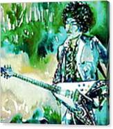 Jimi Hendrix With Guitar Canvas Print
