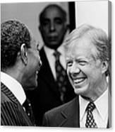 Jimmy Carter And Anwar Sadat 1980 Canvas Print