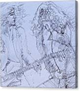 Jimmy Page And Robert Plant Live Concert-pen Portrait Canvas Print