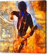 Jimmy Page Playing Guitar With Bow Canvas Print
