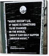 Jimy Hendrix Music Doesn't Lie Canvas Print