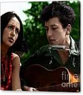 Joan Baez With Bob Dylan Canvas Print