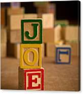 Joe - Alphabet Blocks Canvas Print