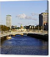 Joe Fox Fine Art - Hapenny Liffey Bridge Over The River Liffey In Central Dublin Ireland Canvas Print