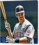 Joe Mauer Painting Canvas Print