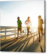 Jogging Along The Coast Canvas Print