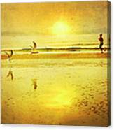 Jogging On Beach With Gulls Canvas Print