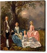 John And Ann Gravenor With Their Daughters Canvas Print