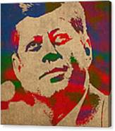John F Kennedy Jfk Watercolor Portrait On Worn Distressed Canvas Canvas Print