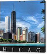 John Hancock Chicago Skyline Panorama Poster Canvas Print