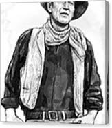 John Wayne Art Drawing Sketch Portrait Canvas Print