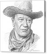 John Wayne Pencil Portrait Canvas Print