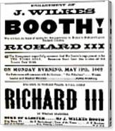 John Wilkes Booth Playbill Canvas Print