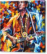Johnny Cash - Palette Knife Oil Painting On Canvas By Leonid Afremov Canvas Print