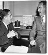 Johnson And Dean Acheson Talk Canvas Print