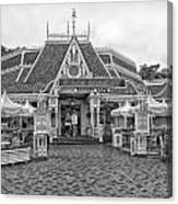 Jolly Holiday Cafe Main Street Disneyland Bw Canvas Print