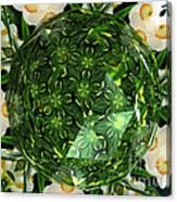 Jonquil Kaleidoscope Under Polyhedron Glass Canvas Print