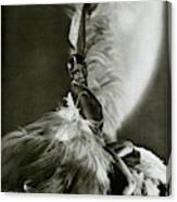 Josephine Baker Wearing A Feathered Cape Canvas Print