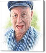 Joyful Grandfather Watercolor Portrait  Canvas Print
