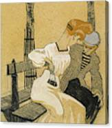 Juan Gris, Man And Woman On Bench, Spanish Canvas Print