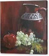 Jug With Frosty Grapes Canvas Print